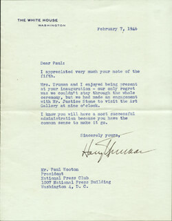 PRESIDENT HARRY S TRUMAN - TYPED LETTER SIGNED 02/07/1946