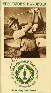 SAM SLAMMING SAMMY SNEAD - PAMPHLET SIGNED