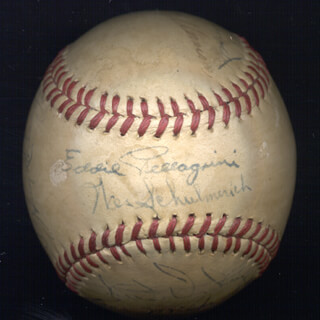 JOHNNY MIZE - AUTOGRAPHED SIGNED BASEBALL CO-SIGNED BY: TOM LONG TOM WINSETT, HUGH THOMAS CASEY, JOHN LUCADELLO, TOM FERRICK, BARNEY McCOSKY, EDDIE PELLAGRINI, WES SCHULMERICH, GEORGE SKEETS DICKEY, JOE GRACE, MARV COONIE FELDERMAN