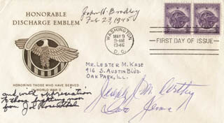 JOE ROSENTHAL - FIRST DAY COVER SIGNED CO-SIGNED BY: CAPTAIN JOSEPH J. McCARTHY, JOHN H. BRADLEY