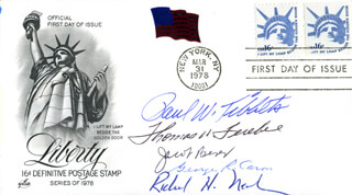 ENOLA GAY CREW - FIRST DAY COVER SIGNED CO-SIGNED BY: ENOLA GAY CREW (RICHARD H. NELSON), ENOLA GAY CREW (JACOB BESER), ENOLA GAY CREW (GEORGE R. CARON), ENOLA GAY CREW (PAUL W. TIBBETS), ENOLA GAY CREW (COLONEL THOMAS W. FEREBEE)