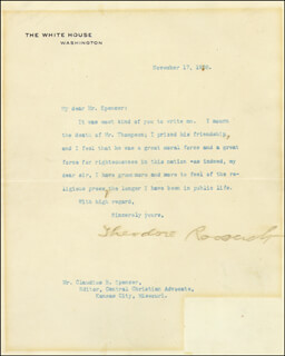 PRESIDENT THEODORE ROOSEVELT - TYPED LETTER SIGNED 11/17/1908
