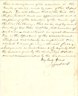 PRESIDENT JEFFERSON DAVIS (CONFEDERATE STATES OF AMERICA) - MANUSCRIPT LETTER SIGNED 01/17/1856