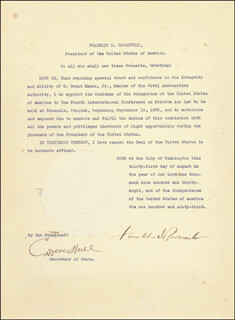 Autographs: PRESIDENT FRANKLIN D. ROOSEVELT - CIVIL APPOINTMENT SIGNED 08/31/1938 CO-SIGNED BY: CORDELL HULL