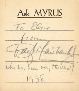 DOUGLAS FAIRBANKS JR. - AUTOGRAPH NOTE SIGNED 1938