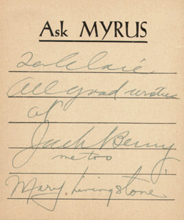 Autographs: JACK BENNY - INSCRIBED CARD SIGNED CIRCA 1938 CO-SIGNED BY: MARY (MRS. JACK BENNY) LIVINGSTONE
