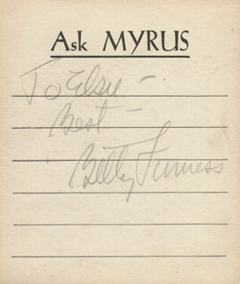 BETTY FURNESS - AUTOGRAPH NOTE SIGNED CIRCA 1938