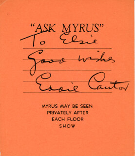 EDDIE CANTOR - INSCRIBED SIGNATURE CIRCA 1937