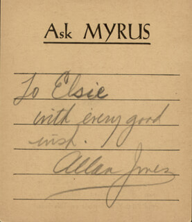 ALLAN JONES - AUTOGRAPH NOTE SIGNED CIRCA 1938