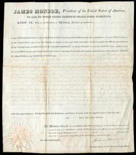 PRESIDENT JAMES MONROE - LAND GRANT SIGNED 07/25/1823 CO-SIGNED BY: GEORGE GRAHAM