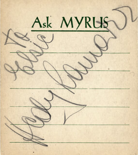 HEDY LAMARR - INSCRIBED SIGNATURE CIRCA 1938