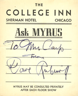 Autographs: DAVID RUBINOFF - INSCRIBED PRINTED CARD SIGNED IN INK CIRCA 1937