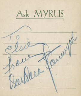 BARBARA STANWYCK - AUTOGRAPH NOTE SIGNED