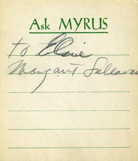 MARGARET SULLAVAN - INSCRIBED PRINTED CARD SIGNED IN PENCIL