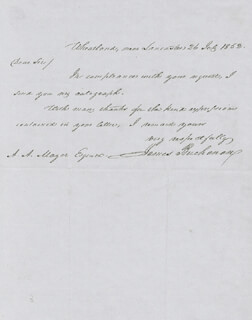 PRESIDENT JAMES BUCHANAN - AUTOGRAPH LETTER SIGNED 07/26/1852