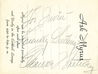 ELEANORE WHITNEY - AUTOGRAPH NOTE SIGNED