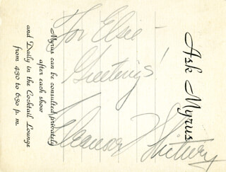 ELEANORE WHITNEY - AUTOGRAPH NOTE SIGNED CIRCA 1937