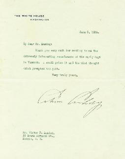 PRESIDENT CALVIN COOLIDGE - TYPED LETTER SIGNED 06/05/1924