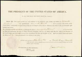 Autographs: PRESIDENT JAMES MADISON - MILITARY APPOINTMENT SIGNED 11/20/1812 CO-SIGNED BY: WILLIAM EUSTIS