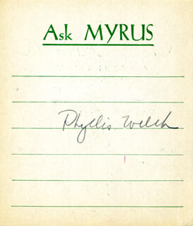 PHYLLIS WELCH MACDONALD - PRINTED CARD SIGNED IN INK