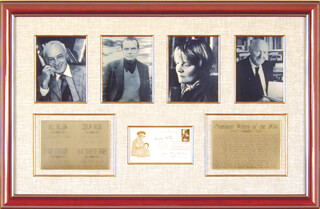 SAUL BELLOW - FIRST DAY COVER SIGNED CO-SIGNED BY: ISAAC BASHEVIS SINGER, CZESLAW MILOSZ, IRIS MURDOCH