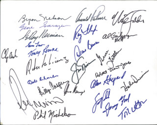 Autographs: PRESIDENT GERALD R. FORD - SIGNATURE(S) CO-SIGNED BY: SIR BOB CHARLES, ROBERTO DEVICENZO, AL GEIBERGER, DEANE R. BEMAN, NICK FALDO, TONEY PENNA, GENE SARAZEN, CHIP BECK, ROBERT TRENT JONES, SCOTT VERPLANK, LEE TREVINO, HALE IRWIN, GENE LITTLER, LEROY NEIMAN, BILLY CASPER, JACK NICKLAUS, ARNOLD PALMER, REAR ADMIRAL ALAN B. SHEPARD JR., TOM WATSON, RAY FLOYD, BYRON NELSON, GARY PLAYER, PHIL MICKELSON