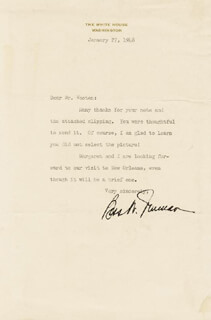 FIRST LADY BESS W. TRUMAN - TYPED LETTER SIGNED 01/27/1948