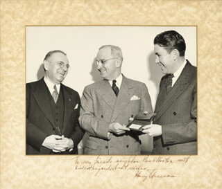 PRESIDENT HARRY S TRUMAN - INSCRIBED PHOTOGRAPH MOUNT SIGNED