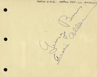 GEORGE BURNS - AUTOGRAPH CIRCA 1936 CO-SIGNED BY: GRACIE ALLEN, CORNELIUS D. SCULLY