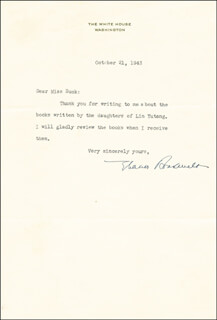 FIRST LADY ELEANOR ROOSEVELT - TYPED LETTER SIGNED 10/21/1943