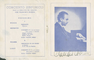 Autographs: CLAUDIO ARRAU - PROGRAM SIGNED CIRCA 1946