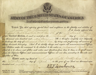 Autographs: PRESIDENT DWIGHT D. EISENHOWER - MILITARY APPOINTMENT SIGNED 04/13/1918