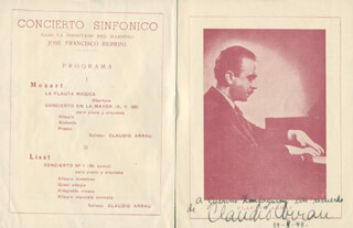 Autographs: CLAUDIO ARRAU - INSCRIBED PROGRAM SIGNED 05/29/1948