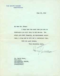 PRESIDENT HARRY S TRUMAN - TYPED LETTER SIGNED 06/18/1945