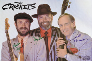 THE CRICKETS - AUTOGRAPHED SIGNED PHOTOGRAPH CO-SIGNED BY: THE CRICKETS (GORDON PAYNE), THE CRICKETS (JERRY ALLISON), THE CRICKETS (JOE B. MAULDIN)