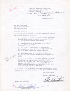 BASIL RATHBONE - CONTRACT SIGNED 12/09/1963