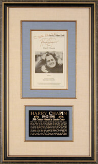 Autographs: HARRY CHAPIN - PROGRAM SIGNED CIRCA 1974