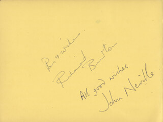 RICHARD BURTON - AUTOGRAPH SENTIMENT SIGNED CO-SIGNED BY: DEREK ROY, JOHN NEVILLE