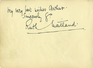 RUTH MAITLAND - INSCRIBED SIGNATURE CO-SIGNED BY: NICOLETTE ROEG