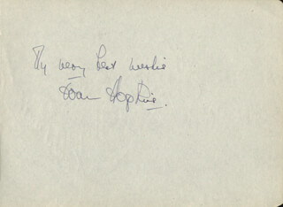 JOAN HOPKINS - AUTOGRAPH SENTIMENT SIGNED