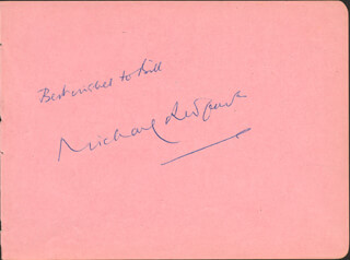SIR MICHAEL REDGRAVE - AUTOGRAPH NOTE SIGNED CO-SIGNED BY: HERBERT LOM