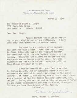 ESTHER CHRISTINE (MRS. ROBERT GODDARD) GODDARD - TYPED LETTER SIGNED 03/31/1966