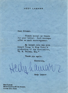 HEDY LAMARR - TYPED LETTER SIGNED
