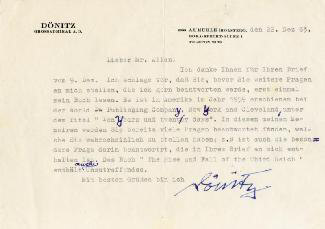 GRAND ADMIRAL KARL DONITZ - TYPED LETTER SIGNED 12/22/1963
