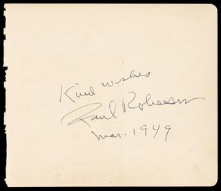 PAUL L. ROBESON - AUTOGRAPH SENTIMENT SIGNED 03/1949