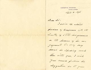 Autographs: PRESIDENT GROVER CLEVELAND - AUTOGRAPH LETTER SIGNED 04/08/1896
