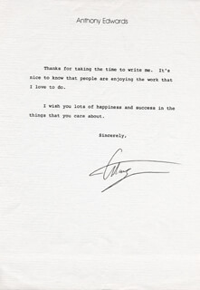 ANTHONY EDWARDS - TYPED LETTER SIGNED