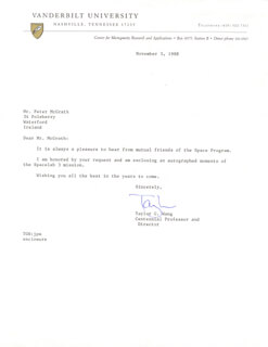 Autographs: TAYLOR WANG - TYPED LETTER SIGNED 11/03/1988