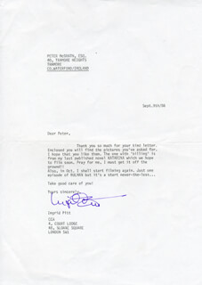INGRID PITT - TYPED LETTER SIGNED 09/09/1986