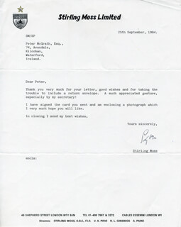 SIR STIRLING C. MOSS - TYPED LETTER SIGNED 09/25/1984